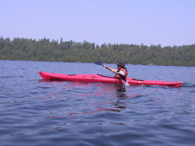 Gerald in the canoe showing off his stroke
