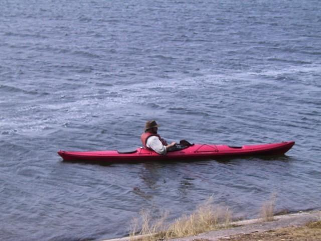Pete goes goes for a canoe ride to pass the time.